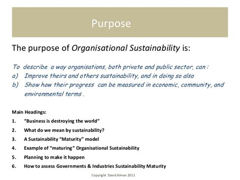 Purpose Of Environmental Design | organisational sustainability