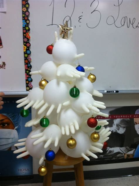 rubber glove christmas tree health science tree made of gloves creative ideas