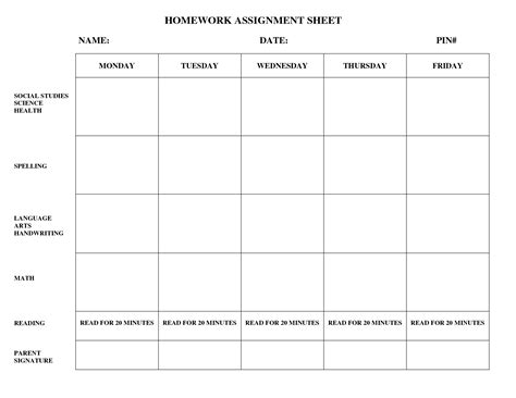 homework sheet template 16 homework templates excel pdf formats