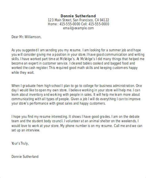 cover letter sle for high school students cover letter exles for high school students 28 images