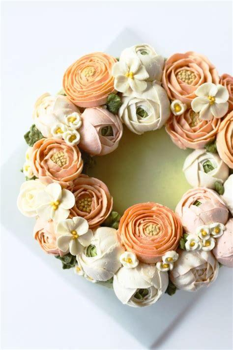 Wreath Style Korean Buttercream eat cake be merry buttercream flower cake cakes flower cakes and buttercream