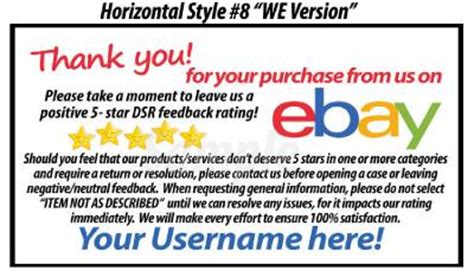 1000 Ds Uv Gloss Ebay Seller Custom 5 Star Dsr Reminder Thank You Business Cards Ebay Ebay Payment Reminder Template