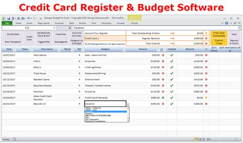 credit card budget templates docs excel budget spreadsheet and checkbook register software