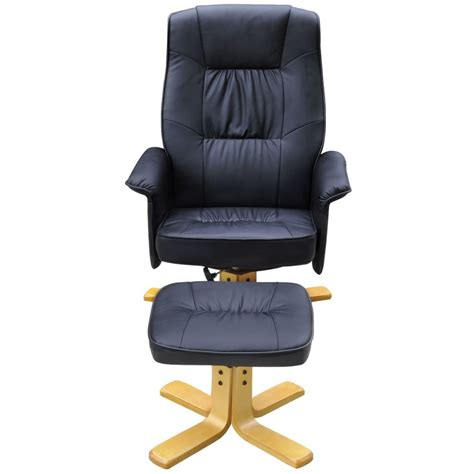 armchair with footstool black tv armchair recliner artificial leather with