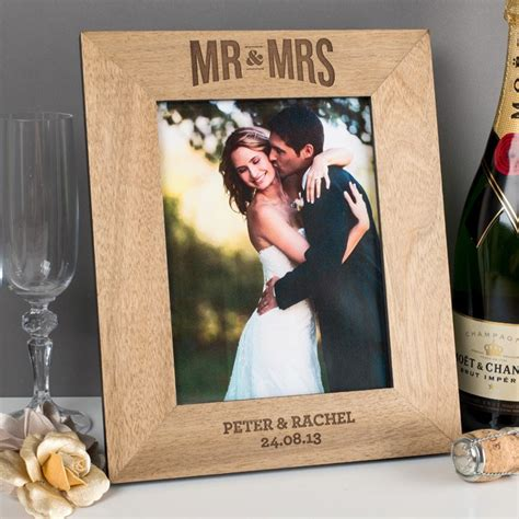 personalised mr mrs wooden photo frame gettingpersonal