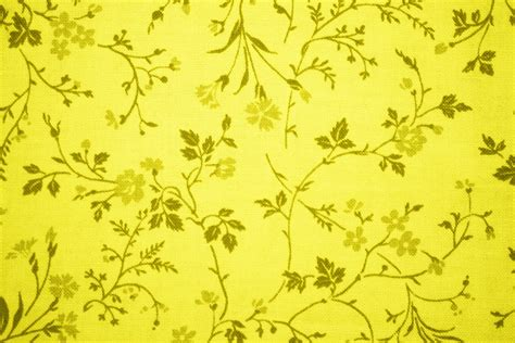 Yellow Floral Print Fabric Texture Picture   Free