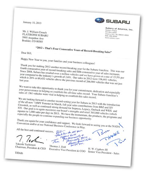 Happy Customer Letter Letters From Our Satisfied Customers At Flatirons Subaru In Boulder Co Serving Denver