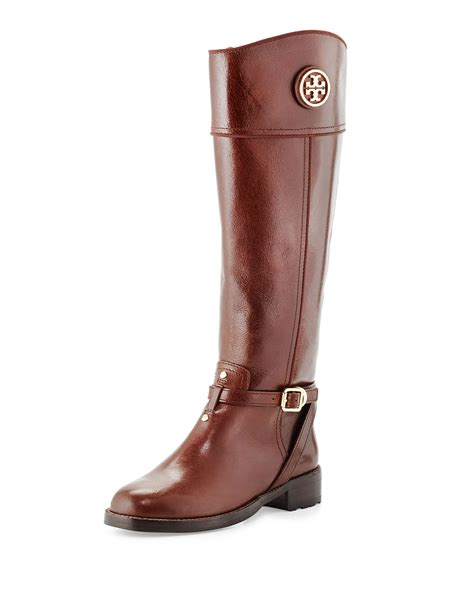 riding shoes tory burch teresa logo riding boot in brown almond lyst