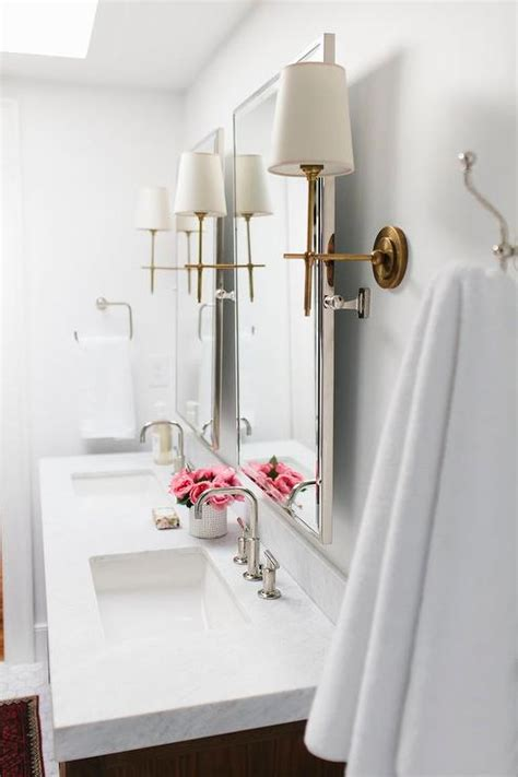 bathroom mirror with sconces nickel bathroom mirrors with antique brass sconces