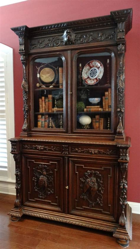 pattern old fashioned hutch large antique english renaissance carved oak hunt cabinet