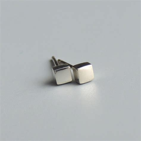 Sterling Silver Square Earrings square stud earrings sterling silver small square post