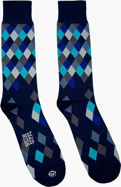 blue pattern socks paul smith navy diamond pattern socks in blue for men
