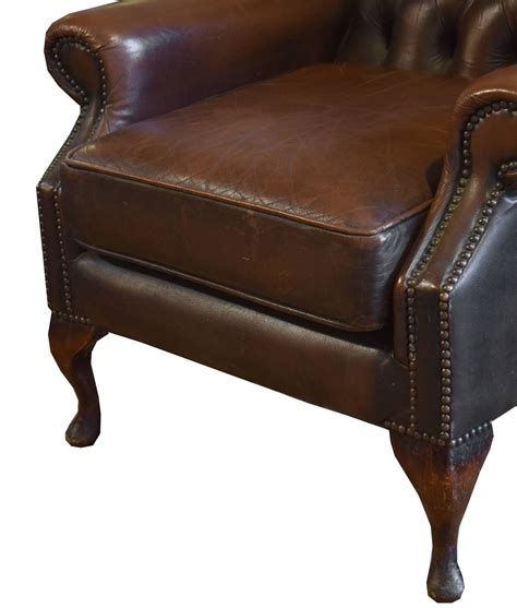 hatton tufted wingback leather chair tufted leather wing chair for sale at 1stdibs