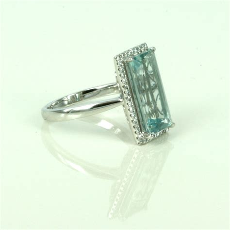 buy emerald cut aquamarine ring sold items