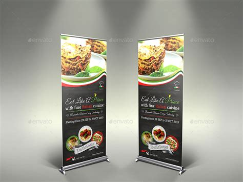design banner cafe italian restaurant signage roll up template by owpictures
