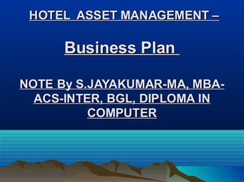 Mba Asset Management by Presentation1 Asset Management Business Plan
