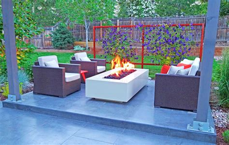 modern outdoor firepit modern outdoor living space with steel pit and trellis mile high landscaping
