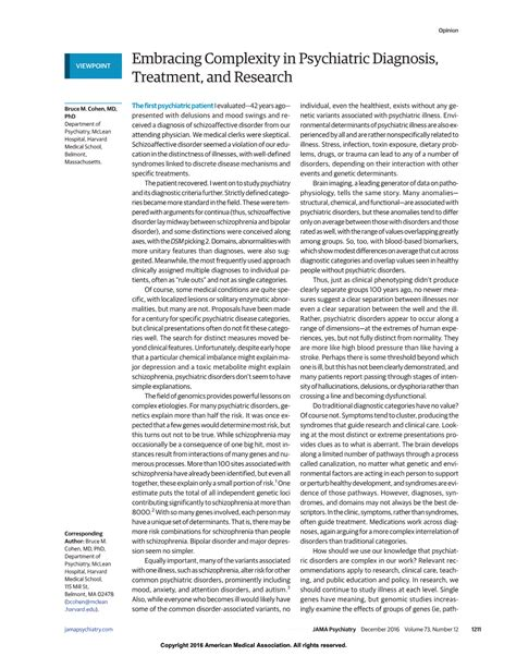 Research Letter Jama Psychiatry Embracing Complexity In Psychiatric Diagnosis Treatment And Research Psychiatry Jama