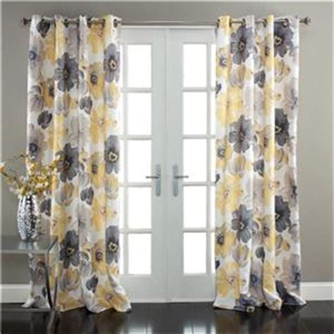 grey white and yellow curtains set of 2 gray yellow white modern floral room darkening