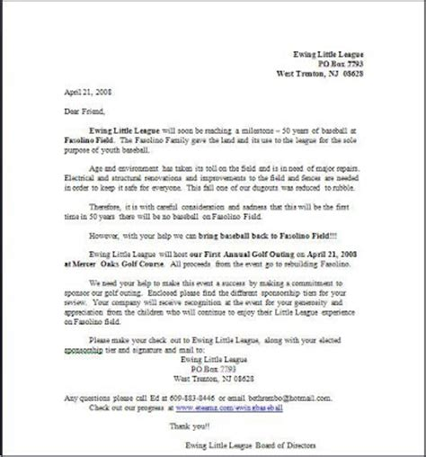 Sponsor Letter For League Ewing League Golf Outing Golf Outing Sponsorship Letter