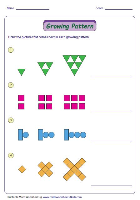number pattern activities for grade 2 growing pattern type 2 patterning pinterest math