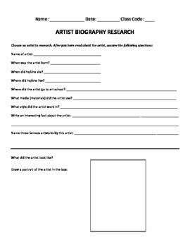 artist biography worksheet artist biography research worksheet by les petits picassos