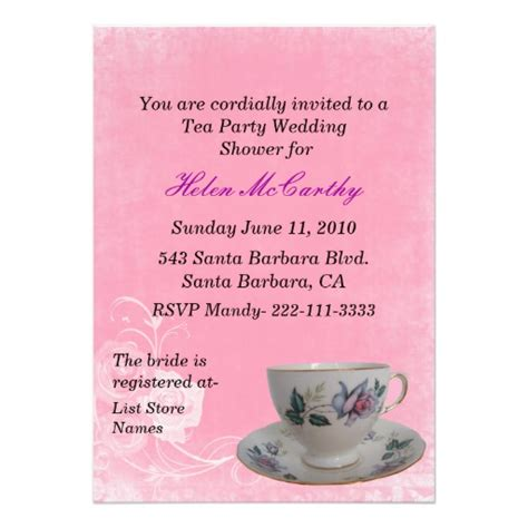 Tea Bridal Shower Invitations by Pink Floral Tea Bridal Shower Invitation Zazzle