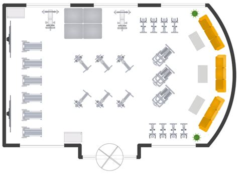 gym floor plan creator gym and spa area plans solution conceptdraw com
