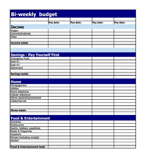 2 week budget template sle weekly budget 7 documents in pdf word