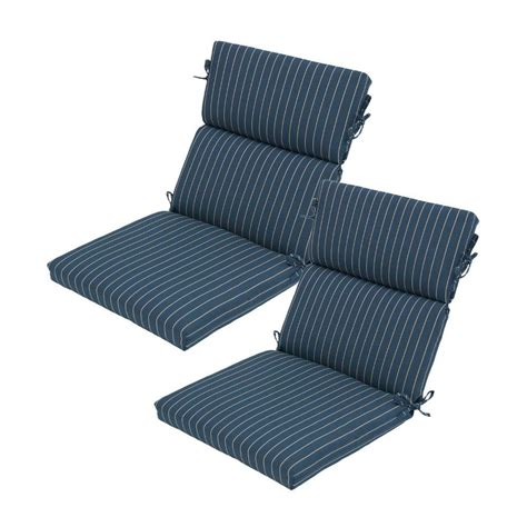 Outdoor Dining Chair Cushion Hton Bay Midnight Stripe Rapid Deluxe Outdoor Dining Chair Cushion 2 Pack 7719 02003200