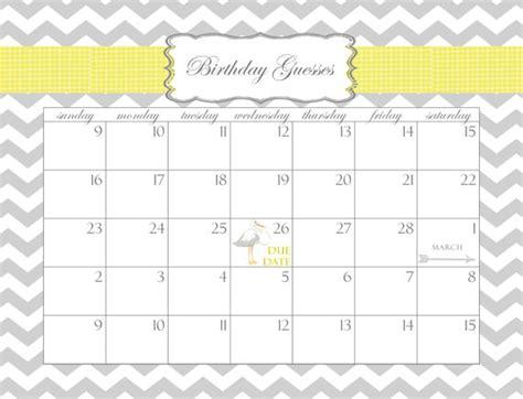 Baby Shower Calendar Printable Pdf Birthday Guesses Printable Countdown Calendar Template