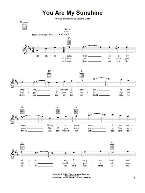 strumming pattern you are my sunshine ukulele you are my sunshine sheet music by jimmie davis ukulele