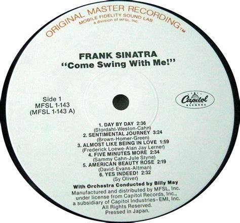 frank sinatra come swing with me frank sinatra come swing with me japan mfsl limited