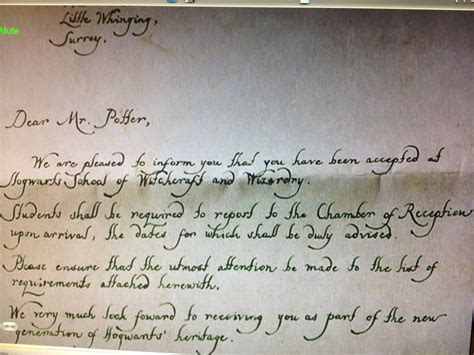Handwritten Hogwarts Acceptance Letter It S Not Like It S Rocket Surgery Hogwarts Acceptance Letter