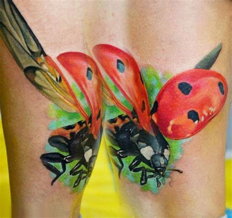 flying ladybug tattoo designs beautiful colors flying ladybug