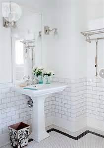 Bathroom bathrooms decor pedestal and white subway tiles