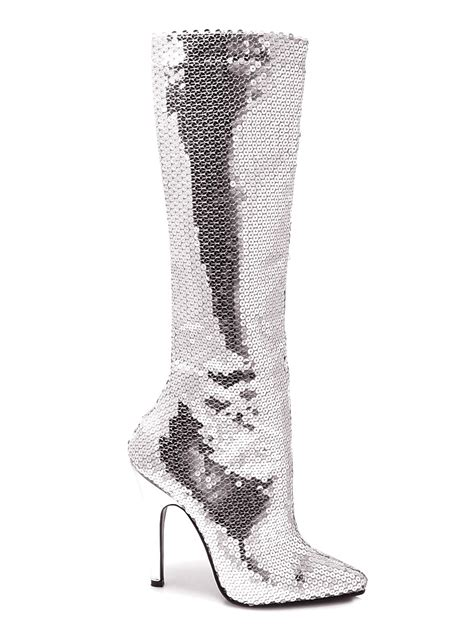 silver sequin knee boots 511tinslv fancy dress