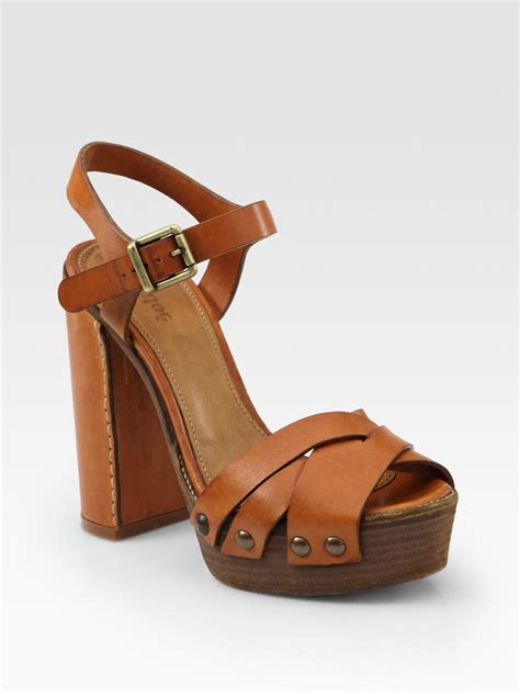 platform sandals lyst chlo 233 leather wooden sole platform sandals in brown