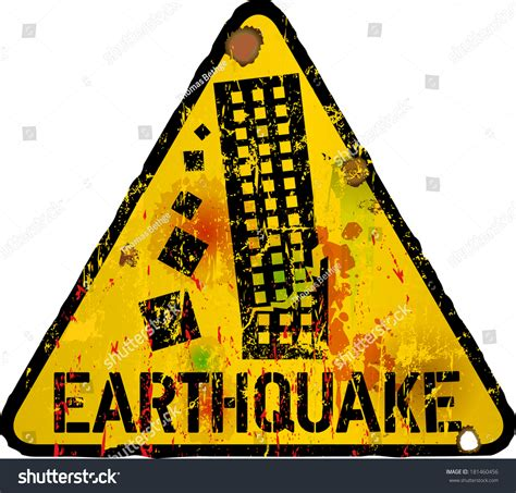 signs of an danger sign earthquake warning sign vector stock vector 181460456