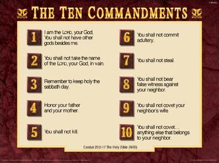 printable version of catholic ten commandments decalogue ten commandments