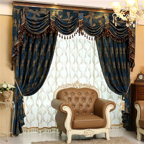 Curtains And Valances For Sale Aliexpress Buy Luxury Chenille Jacquard Blue