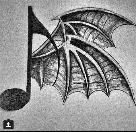 deathbat tattoo designs avenged sevenfold bat wing note