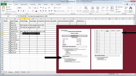 Create A Semester Plan In Excel Youtube How To Create A Template In