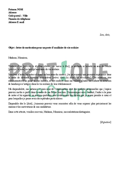 Lettre De Motivation De Avs Exemple Lettre Motivation Avs