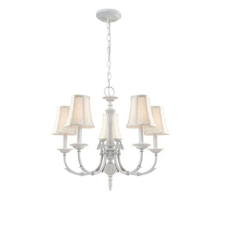 Chandelier Home Depot by Hton Bay Laurel Collection 5 Light Weathered White Chandelier Bsv7115a The Home Depot