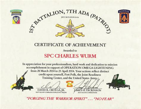 army certificate of template army certificates of achievement templates templates