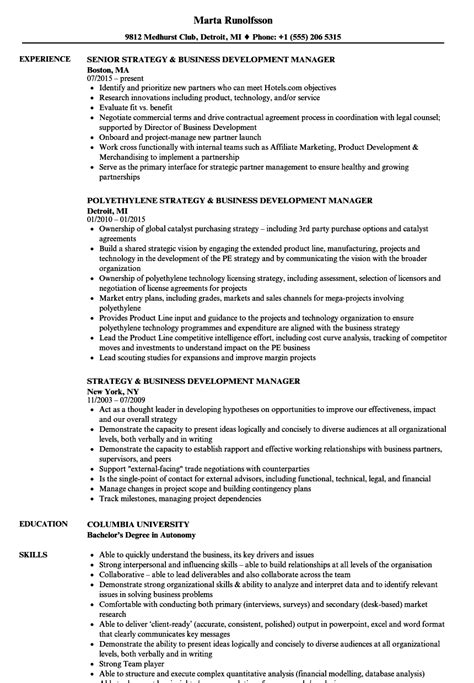developing a resume exles commercial development manager sle resume account