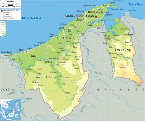 Brunei Search Image Brunei Physical Map