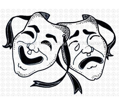 masquerade clipart theatre mask comedy tragedy pencil