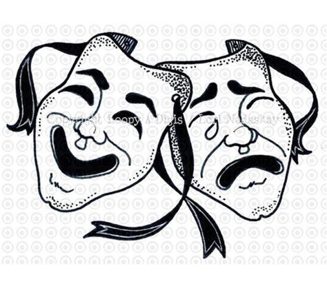 masquerade clipart theatre mask comedy tragedy pencil
